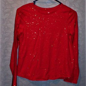 4/$25 Girls red sparkle long sleeved Tee